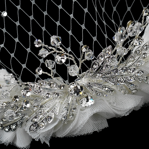 Intricate Diamond White Side Accented Headband with Cage Veil Tulle Accent HP 9658
