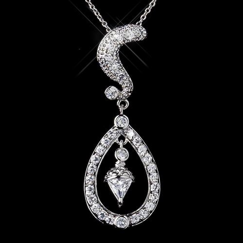 Silver Clear CZ Crystal Kate Middleton Wedding Necklace 9254