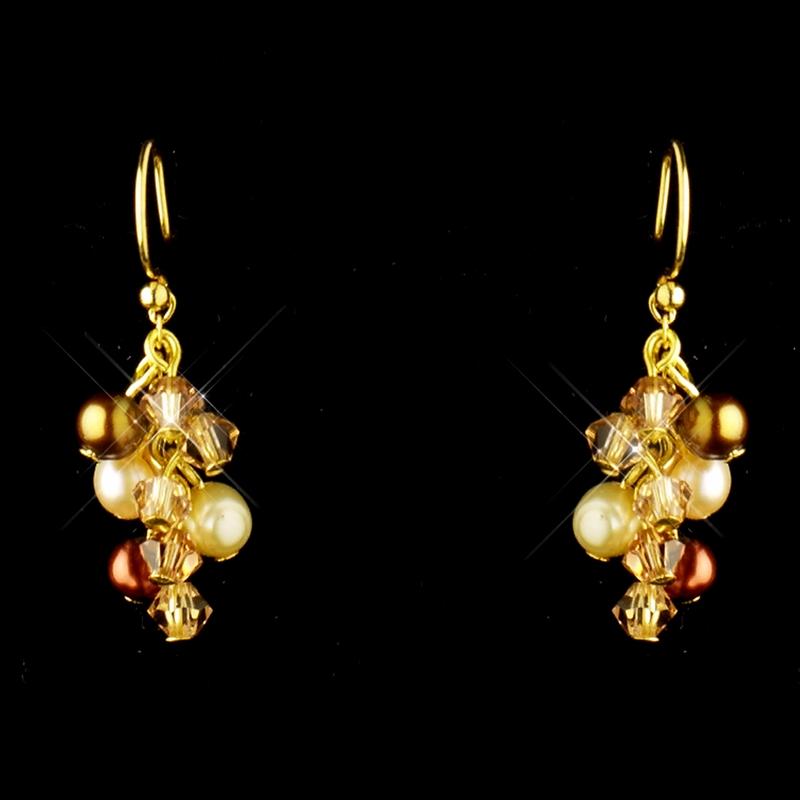 Gold Brown Pearl Swarovski Crystal Necklace Earrings Bridal Jewelry Set 8249 Discontinued