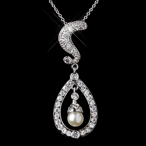 Silver Clear CZ Crystal & Diamond White Pearl Kate Middleton Wedding Necklace 9255
