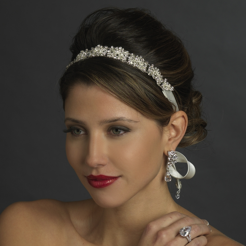 Wedding Hairstyle With Headband: Ivory Silver Crystal Bridal Ribbon Headband