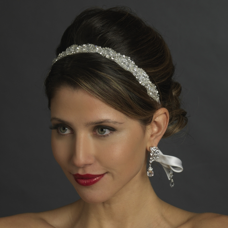 Wedding Hairstyle With Headband: Crystal White Ribbon Headband