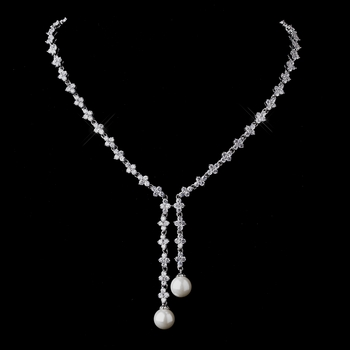 Stunning Antique Silver Pearl & CZ Necklace N 9017
