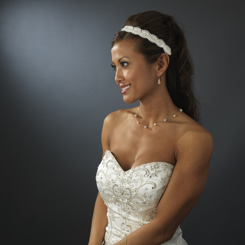 Ribbon Style Bridal Headband HP 8204 White or Ivory ... 44a6b21325b