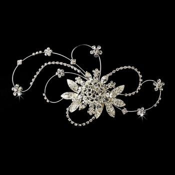* Vintage Crystal Swirl Bridal Headpiece Clip 457 Silver * Irregular Tarnish marks in the Silver Plated *