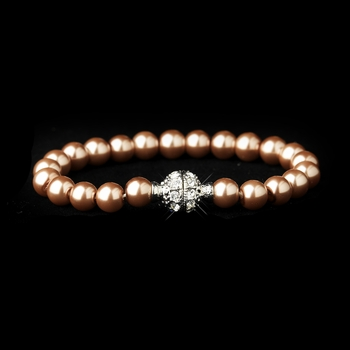 Dusty Rose Glass Pearl Pave Ball Bridal Bracelet 720