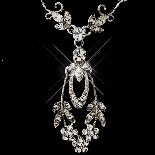 Antique Silver Rhodium Clear Marquise & Round Rhinestone Necklace & Earrings Jewelry Set 0314