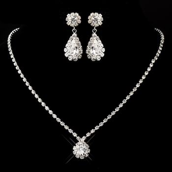 Silver Clear Round & Teardrop Necklace 0511 & Earrings 1032 Jewelry Set