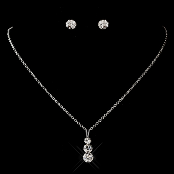 Silver Clear Round Rhinestone Necklace 0532 & Earrings 2052 Jewelry Set