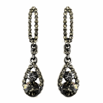 Black Diamond Teardrop Earrings 8698
