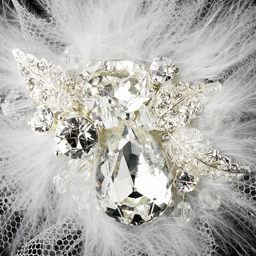* Exquisite Silver Clear Rhinestone & Swarovski Crystal Bridal Hair Clip w/ White or Ivory Feathers 460