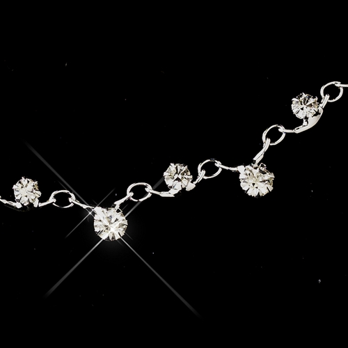 Silver Clear Round Rhinestone Necklace 0937 & Earrings 5103 Jewelry Set