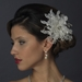 * Crystal & Rhinestone Feather Flower Bridal Hair Clip 5287