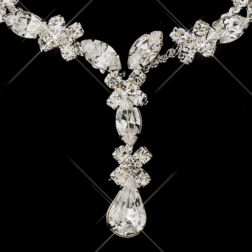 Silver Clear Marquise Necklace & Earrings Jewelry Set 1007