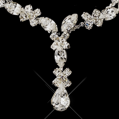 Silver Clear Multi-Cut Rhinestone Necklace 1007 & Earrings 3995 Jewelry Set