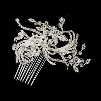 Silver Clear Austrian Crystal Swirl Flower Hair Comb 925