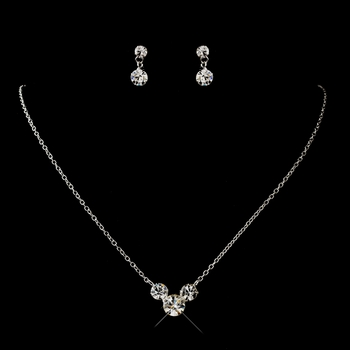Silver Clear Round Rhinestone Necklace 1463 & Earrings 1463Jewelry Set