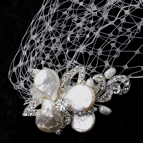 Ivory Russian Birdcage Tulle Headband Veil with Keshi Pearl Flower Combs 1144