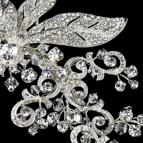 Sparkling Rhinestone Covered Leaf Swirl Hair Clip 9515 (Silver or Antique Silver)
