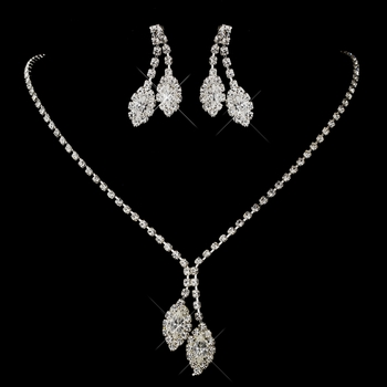 Silver Clear Double Marquise Rhinestone Necklace 1815 & Earrings 0392 Jewelry Set