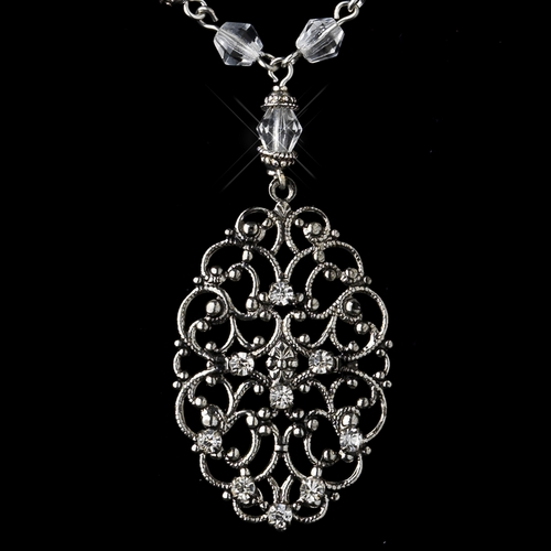 Silver Clear Crystal Swirl Bridal Necklace 8738