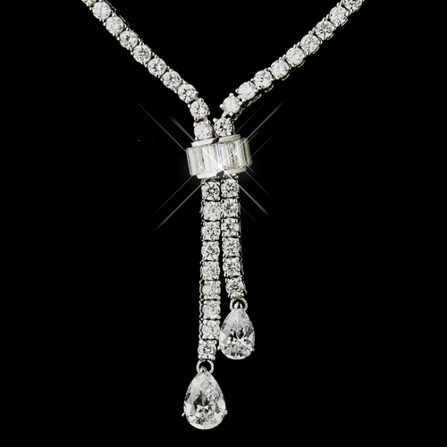 Silver Clear CZ Crystal Bridal Necklace 8653
