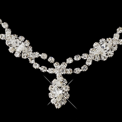 Silver Clear Marquise Rhinestone Necklace & Earrings Jewelry Set 2624