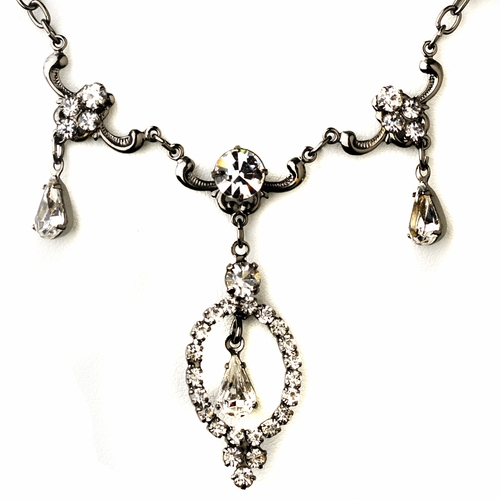Hematite Clear Round & Teardrop Rhinestone Necklace & Earrings Jewelry Set 2840