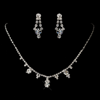 Silver Clear Round Drop Rhinestone Necklace 2876 & Earrings 0930 Jewelry Set