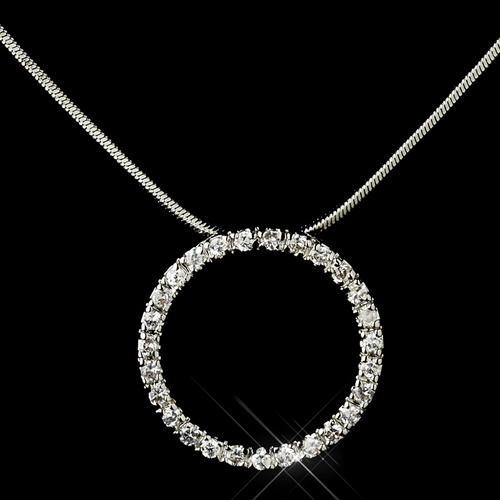Antique Silver Rhodium Clear CZ Crystal Circle Necklace & Earrings Jewelry Set 3688