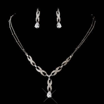 Antique Silver Rhodium Clear CZ Crystal Braid Necklace & Earrings Jewelry Set 4068