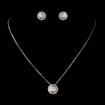 Antique Silver Rhodium Clear Round CZ Crystal Necklace & Earrings Jewelry Set 5783