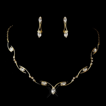 Gold Clear Marquise Rhinestone Necklace & Earrings Jewelry Set 5950