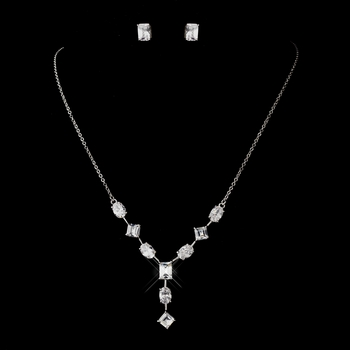Antique Silver Rhodium Multi Shaped CZ Crystal Necklace 6071 & Earrings 3010 Jewelry Set