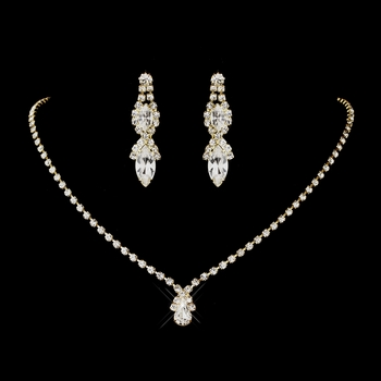 Gold Clear Round & Teardrop Necklace 6177 & Earrings 8361 Jewelry Set