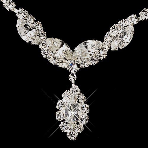 Silver Clear Round & Marquise Rhinestone Necklace & Earrings Jewelry Set 6361