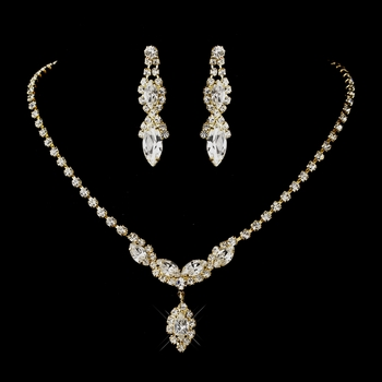 Gold Clear Round & Marquise Rhinestone Necklace 6361 & Earrings 8361 Jewelry Set