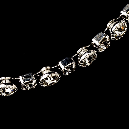 Silver Clear Round Rhinestone Necklace & Earrings Jewelry Set 8194