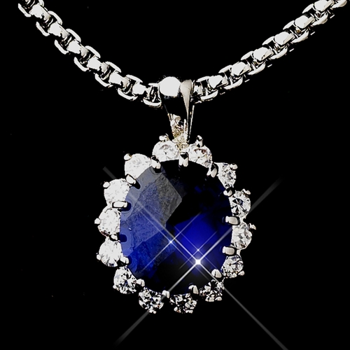 Royal Princess Kate Middleton Inspired Sapphire Necklace 5054 & Pendent 5017