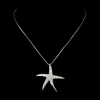 Antique Silver Clear CZ Crystal Starfish Bridal Necklace 5010