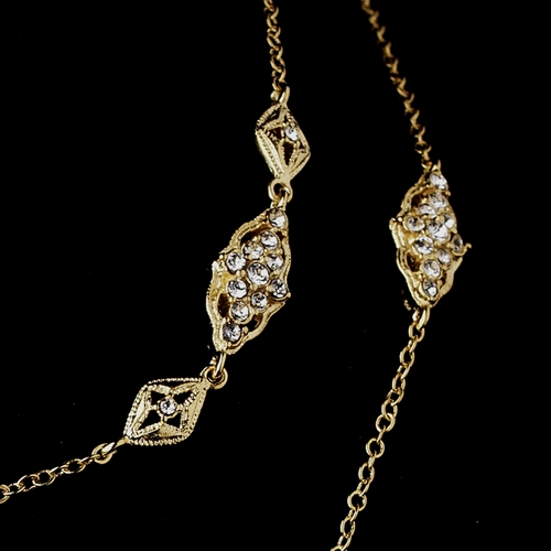 Gold Clear CZ Necklace 3017