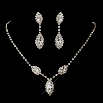 Silver Clear Marquise Rhinestone Necklace & Earrings Jewelry Set 8874
