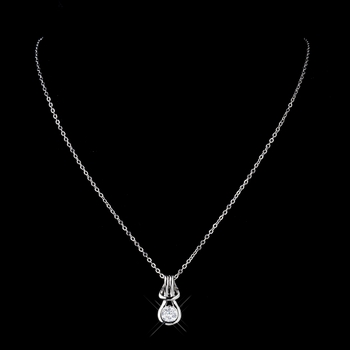 Antique Silver Clear CZ Crystal Bridal Necklace 2742