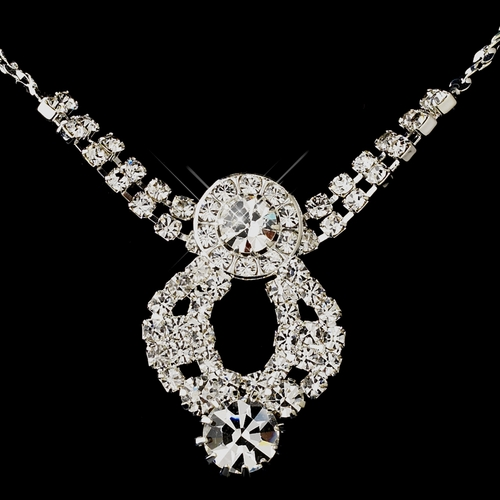 Silver Clear Round Rhinestone Necklace & Earrings Jewelry Set 9800