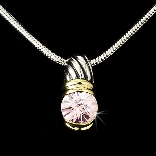 Antique Silver with Pink Stone Designer Pendant N 1246