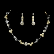 Pearl & Swarovski Crystal Bead Necklace & Earrings Bridal Jewelry Set 8751