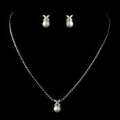 Antique Silver Diamond White Pearl & Marquise CZ Drop Bridal Necklace & Earrings Bridal Jewelry Set 3545