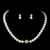 Silver White Glass Pearl Pave Ball Necklace & Earrings Bridal Jewelry Set 720*** 0 Left***