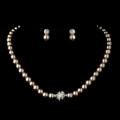 Silver Light Brown Glass Pearl Pave Ball Necklace & Earrings Bridal Jewelry Set 720
