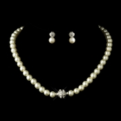 Silver Ivory Glass Pearl Pave Ball Necklace & Earrings Bridal Jewelry Set 720